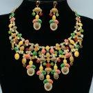 Enamel Flower Necklace Earring Set Mix Swarovski Crystals Women's Jewelry SN2759