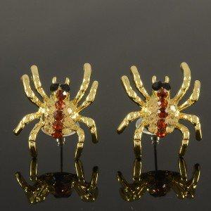 Trendy Pierced Brown Tarantula Spider Earring For Halloween Rhinestone Crystals
