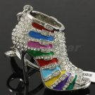 Multicolor Enamel High-Heel Shoe KeyRing Key Chain W Rhinestone Crystal FB1082