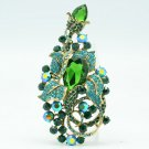 Attractive Green Rhinestone Crystals Flower Bud Brooch Broach Pin Jewelry 6406