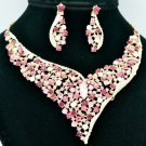 Pink Rhinestone Crystals Vogue Flower Necklace Earring Jewelry Sets 5150