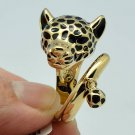 Trendy Gold Tone Black Enamel Leopard Panther Cocktail Ring Size 7# 15766