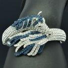 Trendy Animal Tail Horse Bracelet Bangle Cuff W/ Blue Rhinestone Crystals 20810