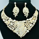 Charming Gold Tone Butterfly Flower Necklace Sets Clear Rhinestone Crystal 00593