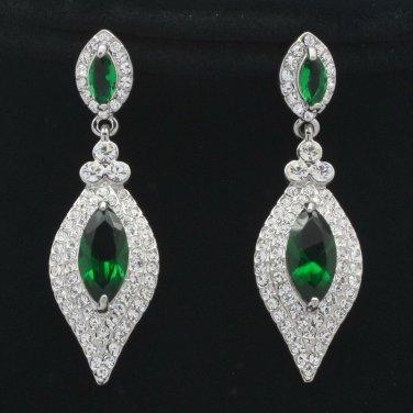 Modish Green Zircon Dangle Drop Clear Rhinestone Crystals Pierced Earrings 20464