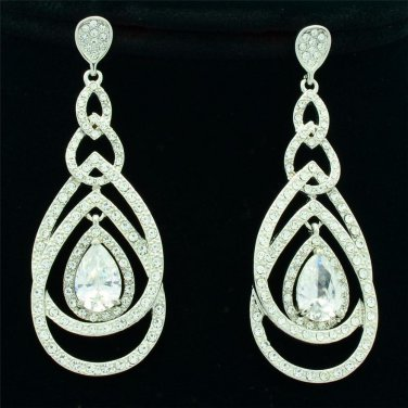 Clear Teardrop Dangle Pierced Rhinestone Crystals Heart Wedding Earrings 21507