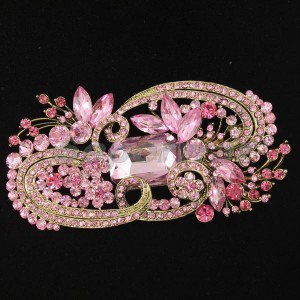 "Pink Flower Brooch Pin 4.1""  Rhinestone Crystal Women Accessories Jewelry 4624"