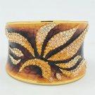 Gorgeous Enamel Leaf Flower Bracelet Bangle Topaz Rhinestone Crystals SKA1961M-1