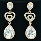 Gold Tone Triple Heart Pierced Earring Drop Zircon Rhinestone Crystals 20678