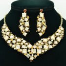 Vintage Necklace Earring Sets Yellow Rhinestone Crystal Accessories Jewelry 6696