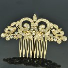 Rhinestone Crystal Symmetry Palace Flower Hair Comb Head Pieces Gold Tone XBY058
