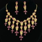 Chic Fuchsia Rhinestone Crystals Skeleton Skull Necklace Earrings Set Halloween