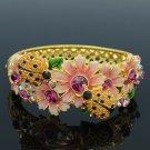 Colorful Rhinestone Crystals Flower Topaz Ladybug Bracelet Bangle SKCA1777M-1
