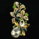"""Vintage Style Leaf Flower Brooch Pin 3.1"""" W/ Topaz Rhinestone Crystals OFA2275"""
