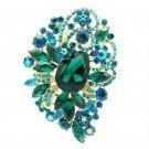 """Green Rhinestone Crystals Elegant Flower Drop Brooch Broach Pin 3.5"""" 6075"""