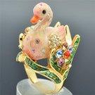 High Quality Swarovski Crystals Animal Pink Swan Cocktail Ring Size 7# 8#