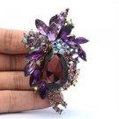 Drop Flower Pendant Brooch Broach Pins Women 8 Colors Rhinestone Crystals 4997