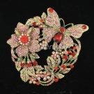 Graceful Rhinestone Crystal Red Flower Butterfly Brooch Broach Pins Jewelry 4489