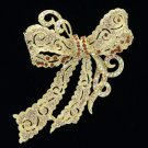 "Gold Tone Bow Bowknot Brooch Pin 4.0"" W/ Brown Rhinestone Crystals 5823"