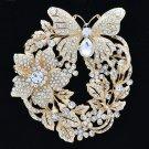 Wedding Bridal Flower Butterfly Brooch Broach Pin Clear Rhinestone Crystals 4489