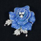 "Beautiful Blue Rhinestone Crystals Rose Flower Brooch Broach Pin 2.1"" FB1077"