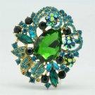 "Gorgeous Flower Leaves Green Rhinestone Crystals Brooch Broach Pin 2.5"" 6173"