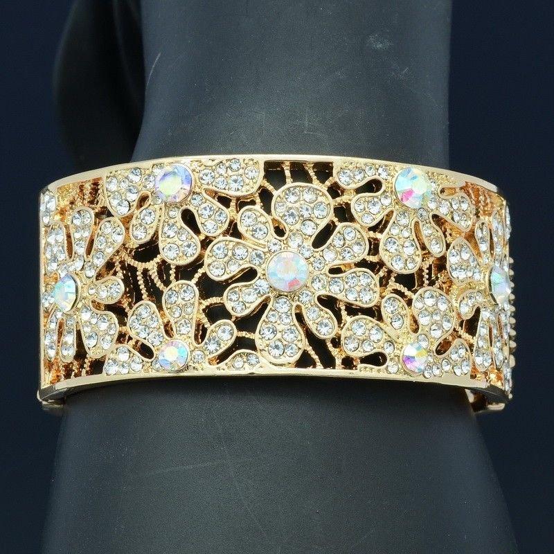 Charming Gold Tone Clear Rhinestone Crystals Flower Bracelet Prom Jewelry E8657B