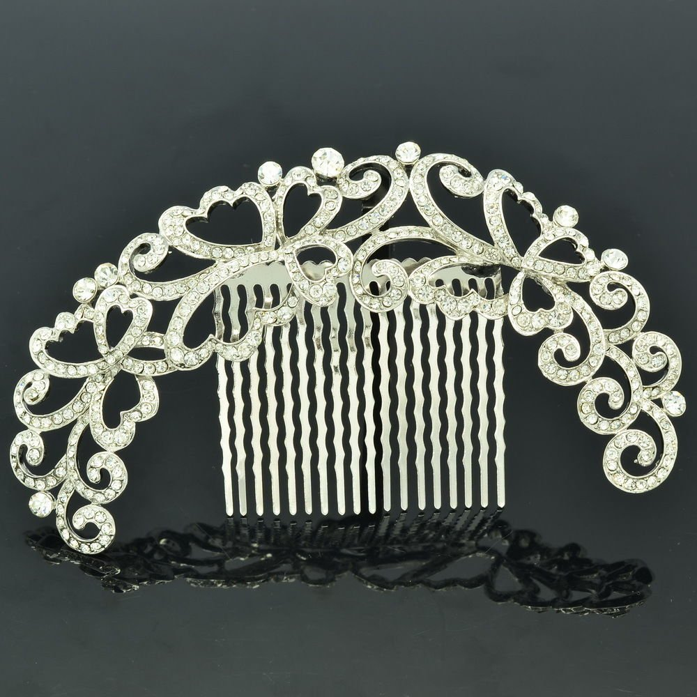 Graceful Flower Hair Comb Headband With Clear Rhinestone Crystals Prom XBY073