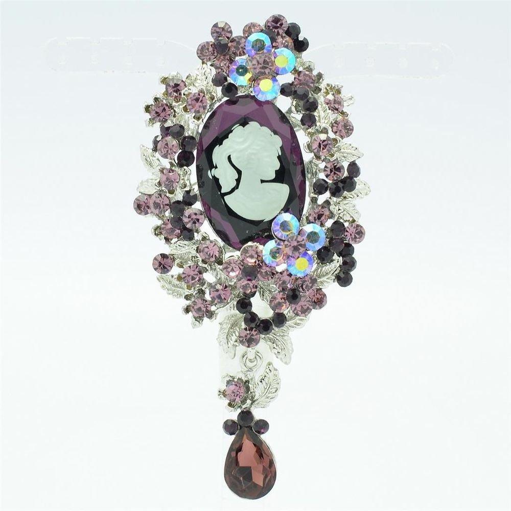 "Beautiful Flower Drop Purple Rhinestone Crystals Brooch Broach Pin 3.6"" 5057"