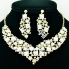Beautiful Necklace Earring Set Rhinestone Crystal Women Accessories Jewelry 6696