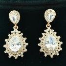 Vogue Bridal Dual Drop Pierced Dangle Flower Earring Rhinestone Crystal 20674