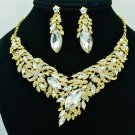 Wheat Necklace Earrings Set Rhinestone Crystals Girl Prom Party Jewelry 6102