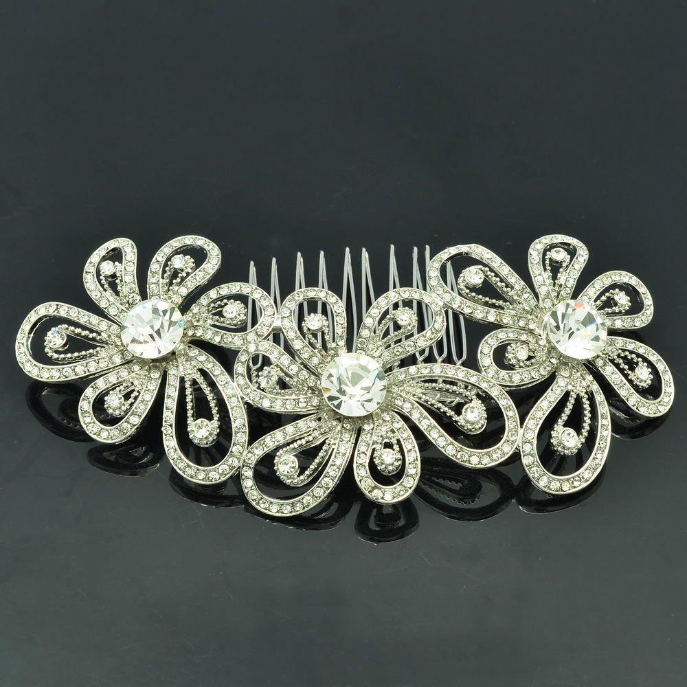 Rhinestone Crystal Cute Flower Hair Comb Headband Bridal Bridesmaid Jewelry 3239