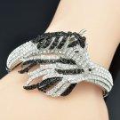 Dazzling Animal Tail Horse Bracelet Bangle Cuff Black Rhinestone Crystals 20810