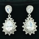 Bridal Dual Drop Clear Rhinestone Crystal Pierced Dangle Flower Earring 20674