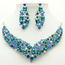 Necklace Earring Set Blue Rhinestone Crystal For Spring Jewelry Accessories 6696