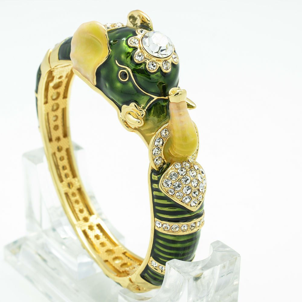 Swarovski Crystal Green Enamel Elephant Bracelet Bangle Cuff Women Jewelry 2253L