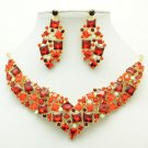 Vintage Necklace Earring Set Red Rhinestone Crystals  Accessories Jewelry 6696