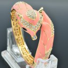 High Quality Pink Fox Bracelet Bangle Cuff W Enamel Clear Swarovski Crystals2073