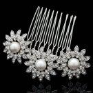 Rhinestone Crystals Imitated Pearls Flower Hair Comb Wedding Head Jewelry 1461R1