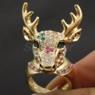 Austrians Crystals Christmas Multicolor Deer Cocktail Ring Jewelry Sz8# SR1816-4