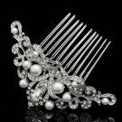 Chic Rhinestone Crystals Imitated Pearl Flower Hair Comb Wedding Headband 1457R1