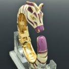 Pretty Enamel Purple Horse Zebra Bracelet Bangle Cuff L1076