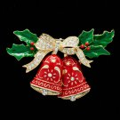 Red Enamel Bowknot Christmas Bell Brooch Pin Rhinestone Crystal Women Party 0691