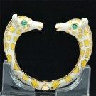 Tough Yellow Enamel Rhinestone Crystals 2 Giraffe Bracelet Bangle Cuff L1074