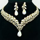 Dazzling Clear Rainbow Rhinestone Crystals Teardrop Flower Necklace Sets 6116