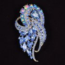 "Beautiful Blue Flower Brooch Broach Pin 3.5"" With Rhinestone Crystals Party 4243"