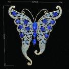 Rhinestone Crystals Blue Butterfly Brooch Broach Pin 8803683
