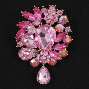Vintage Pretty Pink Flower Pendant Brooch Broach Pin W/ Rhinestone Crystals 3857