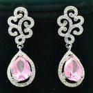 Pink Zircon Water Drop Pierced Flower Earring W/ Rhinestone Crystals TZ20658
